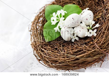 Easter composition - decorative nest with speckled eggs and white lilac flowers