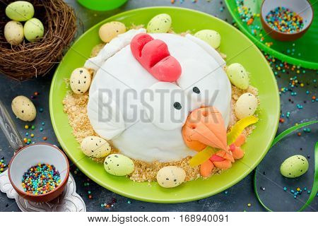 Easter fondant cake shaped chicken delicious dessert on Easter party