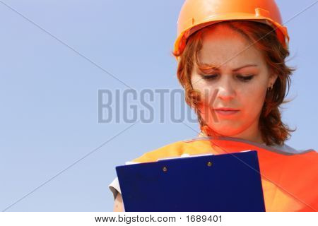 Woman With Yellow Safety Helmet