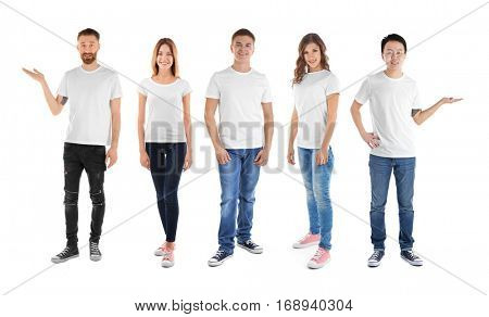 Young people wearing different t-shirts on white background
