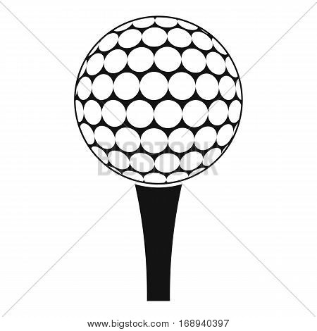 Golf ball on a tee icon. Simple illustration of golf ball on a tee vector icon for web