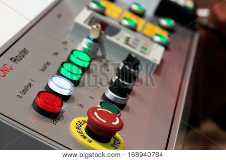 Close up of control panel of CNC router. Selective focus.
