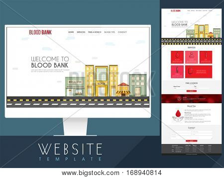 One Page Website Template design for Blood Bank. Vector for Health and Medical concept.