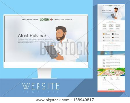 Creative One Page Website Template layout for Health and Medical concept.