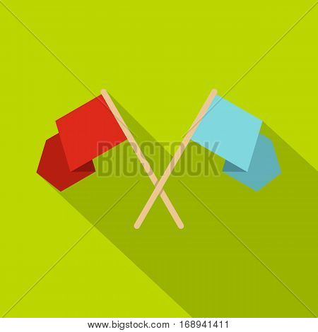 Red and blue crossed flags icon. Flat illustration of red and blue crossed flags vector icon for web   on lime background