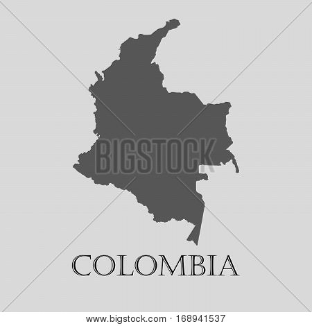 Simple gray Colombia map on light grey background. Gray Colombia map - vector illustration.