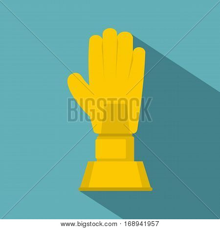 Golden baseball glove trophy icon. Flat illustration of golden baseball glove trophy vector icon for web   on baby blue background