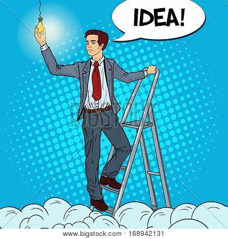 Pop Art Businessman with Ladder and Lightbulb in the Clouds. Vector illustration