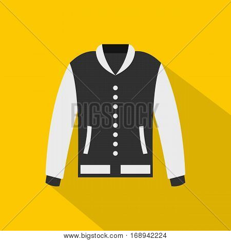 Baseball jacket icon. Flat illustration of baseball jacket vector icon for web   on yellow background