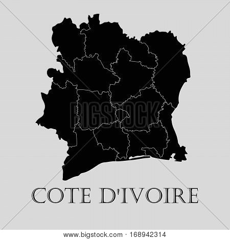 Black Cote D'Ivoire map on light grey background. Black Cote D'Ivoire map - vector illustration.