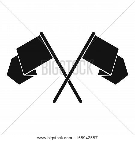 Crossed flags icon. Simple illustration of crossed flags vector icon for web