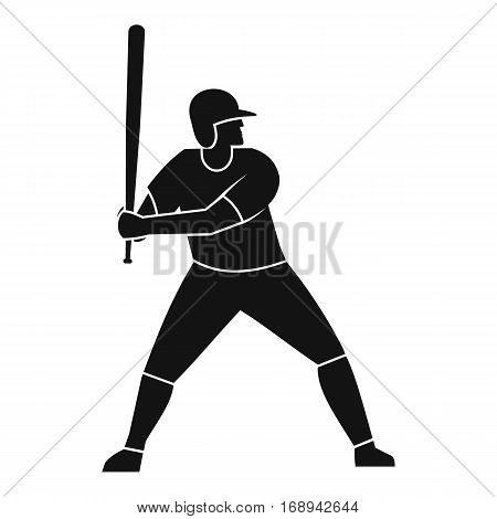Baseball player with bat icon. Simple illustration of baseball player with bat vector icon for web