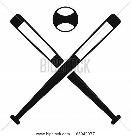 Crossed baseball bats and ball icon. Simple illustration of crossed baseball bats and ball vector icon for web