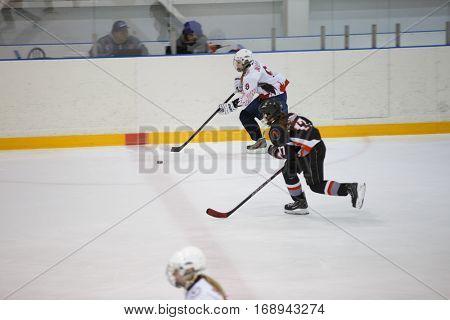 Moscow, Russia - January, 08, 2017: Female amateur hockey league LHL-77. Game between female hockey team