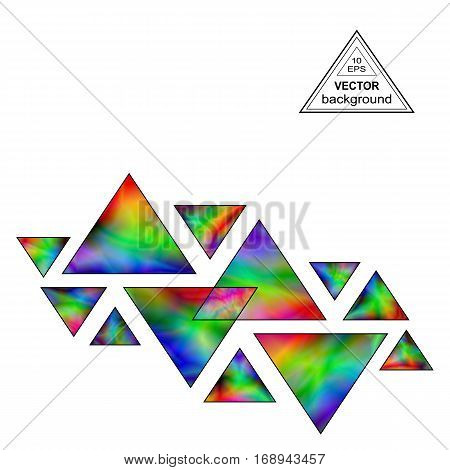 Iridescent Triangles Design Element for the White Background. Geometric Triangular Shapes Compositions with Realistic Holographic Effect.