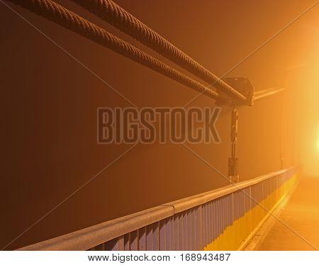 night bridge in the fog at night