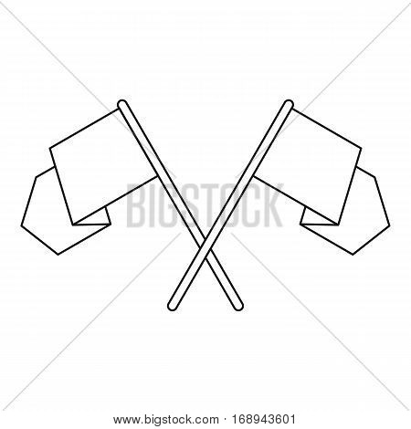 Crossed pennants icon. Outline illustration of crossed pennants vector icon for web
