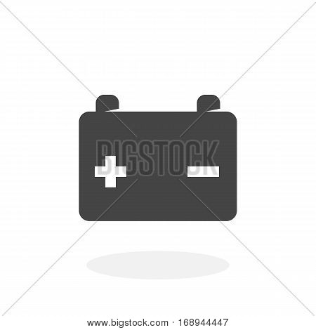 Car battery icon isolated on white background. Car battery vector logo. Flat design style.