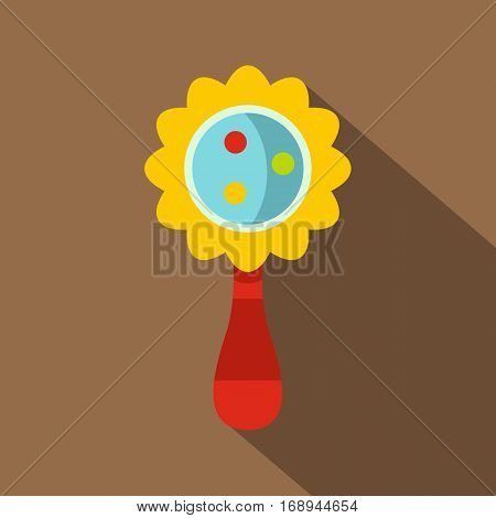 Colorful baby rattle icon. Flat illustration of colorful baby rattle vector icon for web   on coffee background