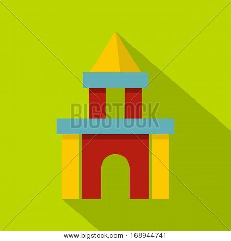 Colorful castle toy blocks icon. Flat illustration of colorful castle toy blocks vector icon for web   on lime background