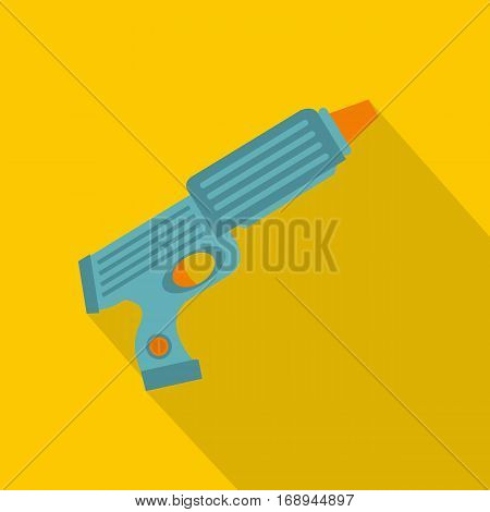 Blue plastic water gun icon. Flat illustration of blue plastic water gun vector icon for web   on yellow background