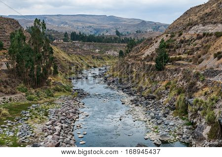 Colca Canyon Peru South America. Mountain river