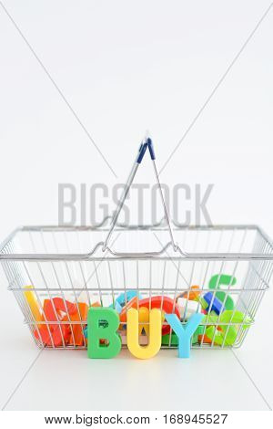 Metal Shopping basket with magnetic letters inside