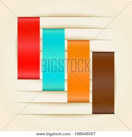 Color paper stripes inserted into cuts raster illustration.