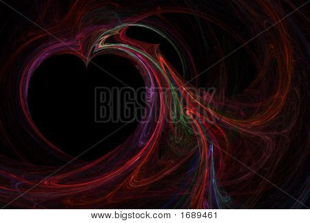Abstract heart fractal in red and multi-colored swirls poster