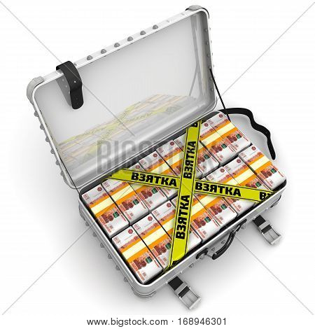 Bribe. Suitcase full of money. A suitcase filled with with packs of Russian rubles and yellow tapes with text