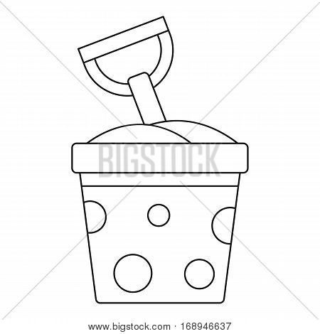 Toy bucket and spade icon. Outline illustration of toy bucket and spade vector icon for web