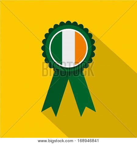 St Patrick day rosette icon. Flat illustration of St Patrick day rosette vector icon for web   on yellow background