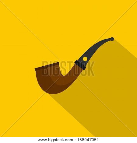 Wooden pipe for smoking icon. Flat illustration of wooden pipe for smoking vector icon for web   on yellow background