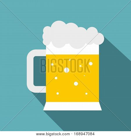 Mug of beer icon. Flat illustration of mug of beer vector icon for web   on baby blue background