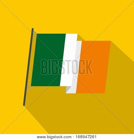 Waving flag of Ireland icon. Flat illustration of waving flag of Ireland vector icon for web   on yellow background