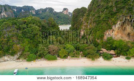 Aerial view of Railay beach in Krabi province, Thailand