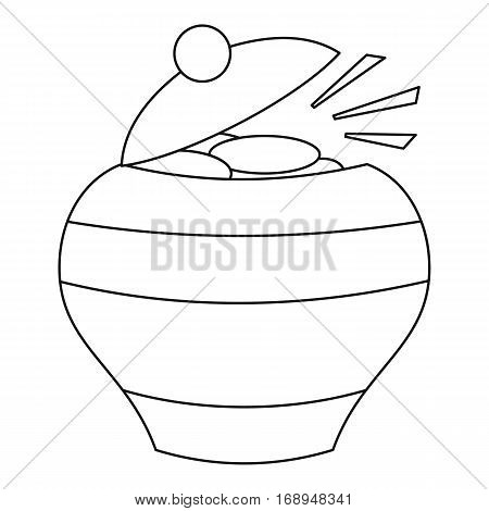 Pot of gold icon. Outline illustration of pot of gold vector icon for web