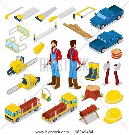 Lumberman Woodcutter with Firewood and Tools Isometric Concept. Vector 3d flat illustration