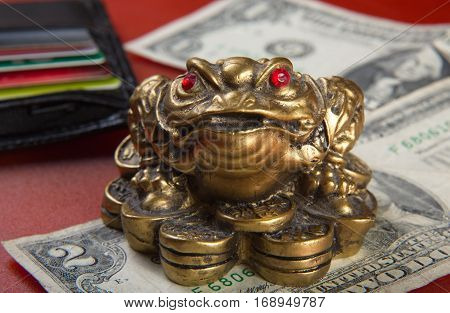Money Frog And Two Dollars.