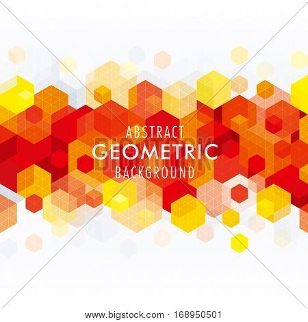 Abstract geometric shape red background.