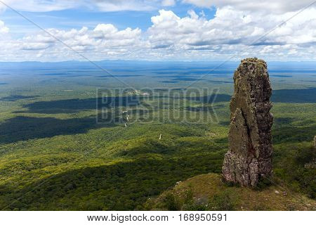 boundless expanse. view from mountains. Chiquitania. Bolivia Stock photo
