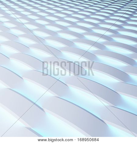 White 3d panels with luminescence. 3d rendering.