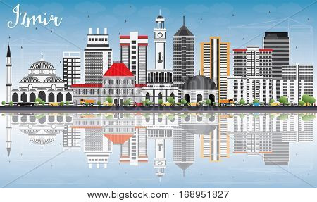Izmir Skyline with Gray Buildings, Blue Sky and Reflections. Vector Illustration. Business Travel and Tourism Concept with Modern Architecture. Image for Presentation Banner Placard and Web Site.