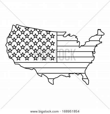 American map icon. Outline illustration of american map vector icon for web