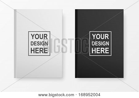 Realistic book blank cover set. Black and white template isolated on white. Vector mock up EPS10.