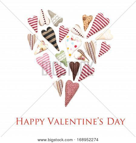 Mix of hearts placed in heart shape, isolated on a white background with text: Happy Valentine's day