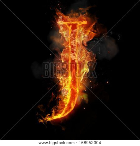 Fire letter J of burning flame. Flaming burn font or bonfire alphabet text with sizzling smoke and fiery or blazing shining heat effect. Incandescent hot red fire glow on black background