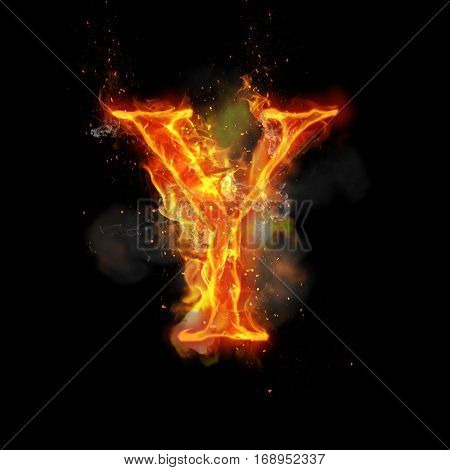 Fire letter Y of burning flame. Flaming burn font or bonfire alphabet text with sizzling smoke and fiery or blazing shining heat effect. Incandescent hot red fire glow on black background