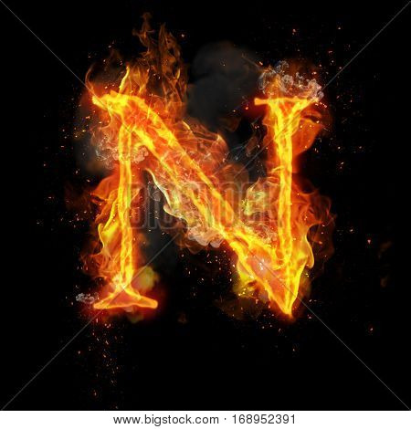 Fire letter N of burning flame. Flaming burn font or bonfire alphabet text with sizzling smoke and fiery or blazing shining heat effect. Incandescent hot red fire glow on black background