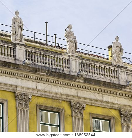 Detail of the classical building of the General Confederation of the Portuguese Workers in Lisbon Portugal